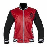 Spada Campus Leather Jacket Red/Black
